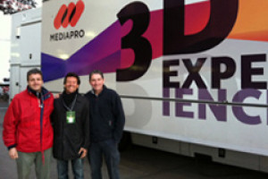 Edgar with Dario and Ramon from Kronomav at Camp Nou, Barcelona for live 3D football broadcast.
